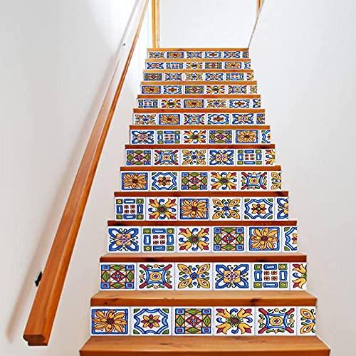 tzxdbh suelo vinilo rollo Color estilo bohemio 100CMx18CMx6pieces(39.3'w x 7'h x 6pieces) Pegatinas escaleras peldaños autoadhesivo Renovación Impermeable Calcomanía arte DIY Pasos vinilo