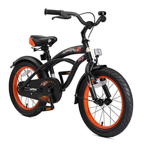 BIKESTAR Vélo Enfant pour Garcons et Filles de 4-5 Ans | Bicyclette Enfant 16 Pouces Cruiser avec Freins | Noir