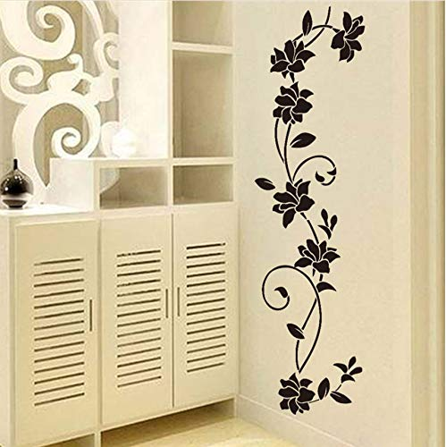 Wuyii muursticker, bloem, zwart, leeg, koelkast, ramen, decoratie, 30 x 105 cm