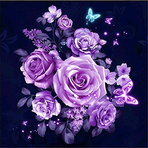 KINGCOO 5D Diamant Malerei Kits, DIY 5D Schmetterling Stieg Blume Vollbohrer Krystal Strass Painting Diamont Stickerei Gemälde für Wand Décor,30X30CM (Lila Rose)