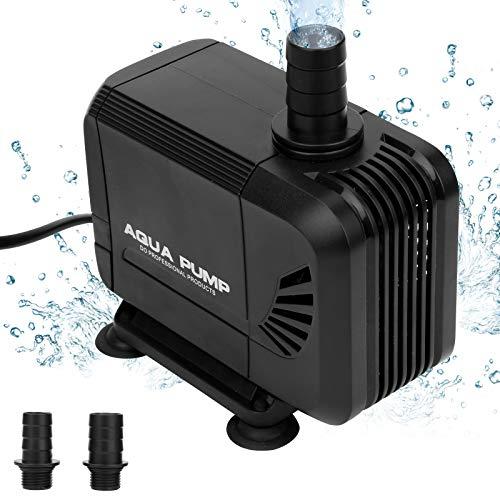 Hengda 1500L/H Wasserpumpe Tauchpumpe Teichpumpe Aquarienpumpe,Ultra-leise,mit 2 Düse 13mm&16mm, 1.5m Netzkabel (15W),für Teiche, Aquarium, Gartenteich, Springbrunnen