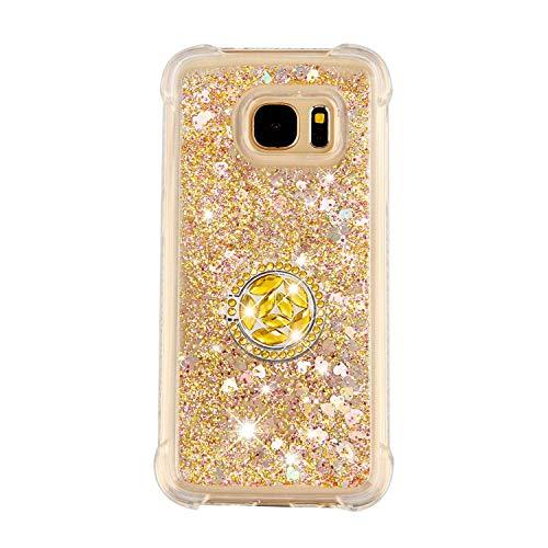 FAWUMAN Hülle für Samsung Galaxy S7 Diamant Ring Flüssig Herzform Treibsand Silikon TPU Bumper Hülle für Samsung Galaxy S7 (Gold)