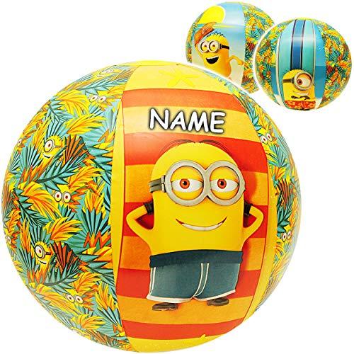 alles-meine.de GmbH Strandball / Ball aufblasbar -  Minions  - inkl. Name - Ø 50 cm - Wasserball - aufblasbarer großer Ball / Beachball - Kinder - Baby - Spielball Aufblasball ..