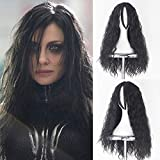 IVY HAIR Women Girl's Long Curly Fluffy Black Movie Halloween Cosplay Wig Party Wigs Hela Cosplay Wigs for Halloween Costume Use