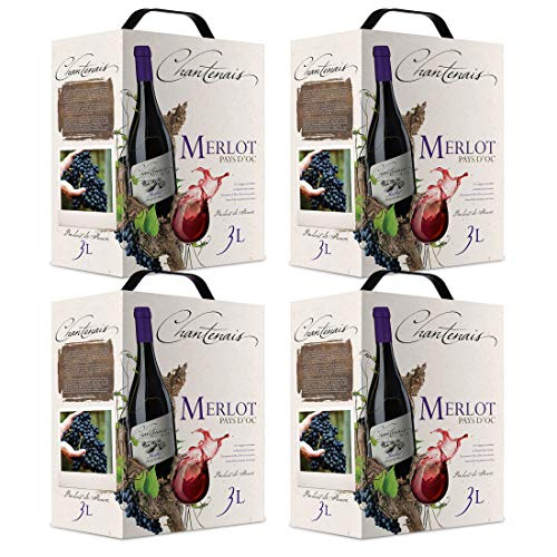 Bag-in-Box - Vin de Pays d'Oc - Merlot - Chantenais - Frankreich - Languedoc - Rotwein, trocken, Box mit:4 Boxen