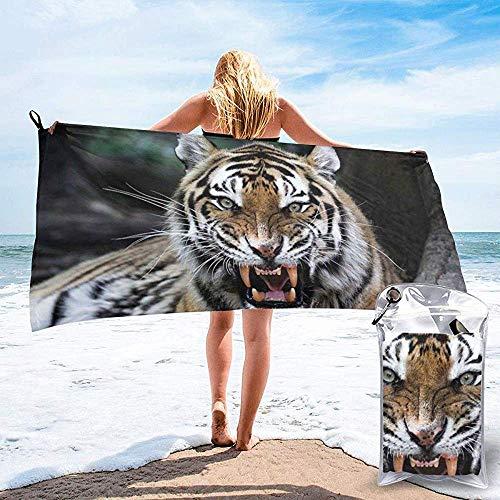 Schnell trocknendes Strand-Reise-Camping-Tuch, Tiger-Gesicht mit wild lebenden Tieren Safari Savannah Animal Nature Zoo-Foto-Druck-Badetuch 160X80 cm