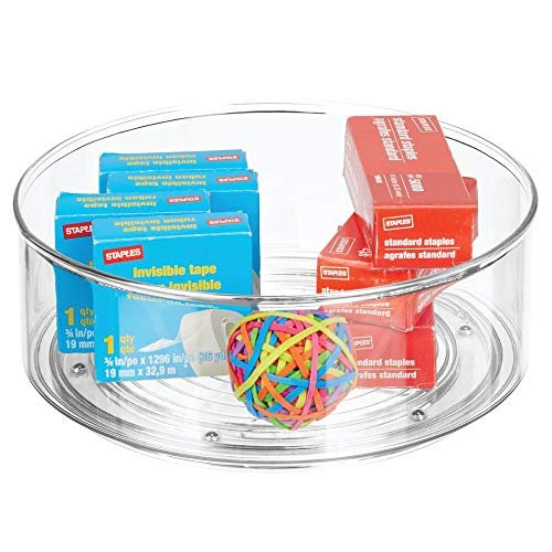 mDesign Deep Plastic Spinning Lazy Susan Turntable Storage Container for Desktop Drawer Closet - Rotating Organizer for Home Office Supplies Erasers Colored Pencils - 9 Round - Clear