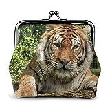 Bolsa de cambio de cuero de tigre monedero beso cierre mini cosméticos maquillaje bolsas para mujeres y niñas