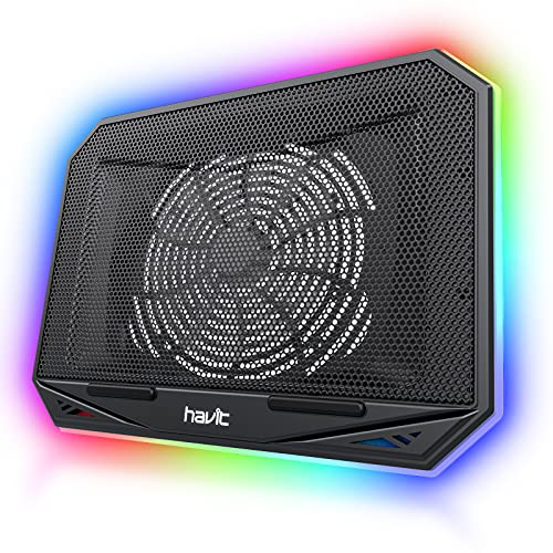 Havit RGB Laptop Cooling Pad Gaming Laptop Cooler with Larger Quiet Cooling Fan 3 Adjustable Height and Connection Cable for 10 - 17 Inch Laptop Notebook