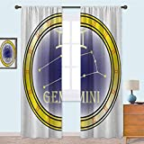 YUAZHOQI Cortinas de dormitorio círculo con símbolos y constelación Destiny y estrellas temáticas cortinas de bloqueo de luz para guardería de 95 pulgadas de largo, azul marino, amarillo, naranja
