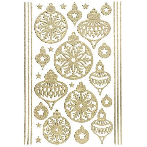 Ideen mit Herz 3-D Sticker Deluxe | Winter & Weihnachten | Erhabene Aufkleber | ideal für Weihnachts-Deko & Weihnachtskarten basteln | Bogengröße: 21 x 30 cm (Weihnachtskugeln | Gold)