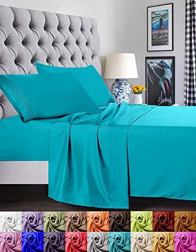 Confort élégant 1500 Fils Luxe égyptien de qualité Super Douce Rides Gratuit et résistant à la décoloration 3 pièces de lit, Turquoise, Twin/Twin XL