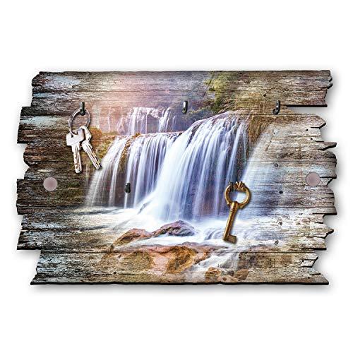 Kreative Feder Wasserfall Designer Schlüsselbrett, Hakenleiste Landhaus Style, Shabby aus Holz 30x20cm, HSB029