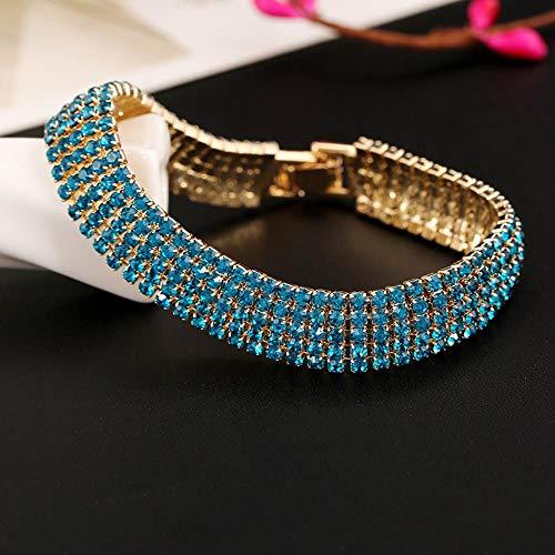 KFYU Bracelet en Cristal Full Diamond 5 Rang Bracelet Bijoux de mariée Kong LAN