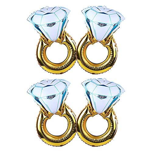 ANCLLO 2 globos grandes de oro con diamante de hoja de globo inflable decoración de la boda helio aire día de San Valentín globo evento fiesta suministros (anillo grande)