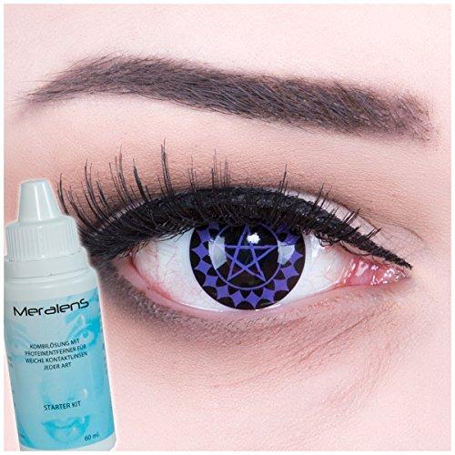 Meralens Black Buttler Kontaktlinsen mit Pflegemittel mit Behälter ohne Stärke, 1er Pack (1 x 2 Stück). Perfekt zu Halloween, Fasching und Karneval.