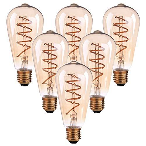 JYKFJ 6 Bombillas LED, equivalentes a Bombillas de filamento LED Retro de 30 W 3 W, Base Media E26, Regulable, Blanco cálido 2200 K Bombillas de Vidrio ámbar Antiguo ST64, Navidad