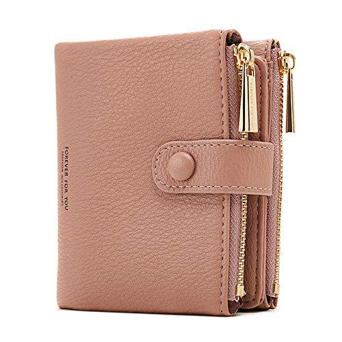 Damen Geldbeutel,PU Leder Portemonnaie Kleine Brieftasche Geldbörse Für Frauen (Pink)