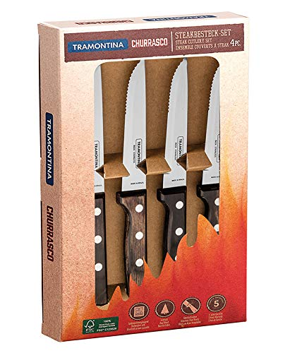 Tramontina 29899/315 Gaucho Steakmesser, 4 teiliges Set, Edelstahl AISI 420, Echtholz