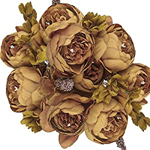 BOMAROLAN Vintage Artificial Peony Bouquet Silk Wedding Flowers, Pack of 1 Fake Flowers Home Party Festival Decoration(Brown)