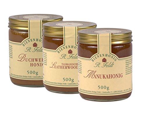 Honig Probierset (Manuka, Buchweizen, Leatherwood)