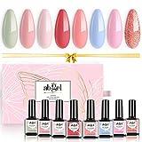 Abgel Gel Nail Polish Set, 8 piezas Gentle Peach Color Series Soak Off Gel Nail Polish Set de manicura para el hogar Nail Art Color Salon Colores populares de verano