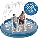 Homdas Splash Pad and Sprinkler for Kids Toddlers 68', Outdoor Summer Toys Baby Swimming Pool - Backyard Lawn Games Infant Wading Pool Slide, Inflatable Kids Sprinkler for Toddlers Babies Boys Girls