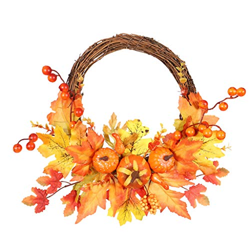 Boping Rattan Maple Leaf Pumpkin Fall Door Pendant Wall Ornament Halloween Harvest Pendant Thanksgiving Autumn Pendant Decoration Pumpkin Berry Maple Leaf Pendant Home Outdoor(1Pc 11.8'')