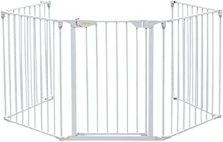 Bonnlo 121-Inch Wide Metal Baby Safety Fence/Play Yard Adjustable Fireplace Hearth BBQ Fire Gate Christmas Tree Gate 5-Panel Playpen for Toddler/Pet/Puppy/Cat/Dog, 25.39
