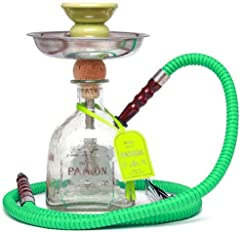 This Patron Silver Hookah Is Approx 17 Inches Tall by 3.5 Inches Wide - Ceramic Hookah Bowl - 6 Inch Stainless Steel Hookah Tray - Stainless Steel Down Stem - 42 Inch Colored Hookah Hose