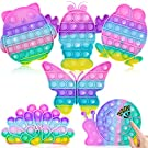 6 Pack Pop Bubble Sensory Fidget Toy Macaron Rainbow Pushing It Popper Toy for Kids and Adults Cute Popitsfidgets Toys Cheap Popit Gift Toy (Peacock+Owl+Snail+Frog+Butterfly+Lobster)
