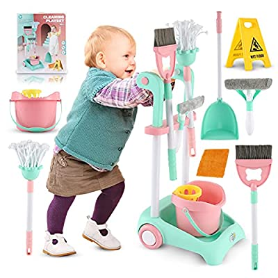 Richtim Toddler Cleaning Set - Kids Cleaner Kitchen Toys, Kids Broom and Cleaning Set, Preschool Housekeeping Play Toy Home Cleaning Supplies Skill Development Best Gift for Boys and Girls by Richtim