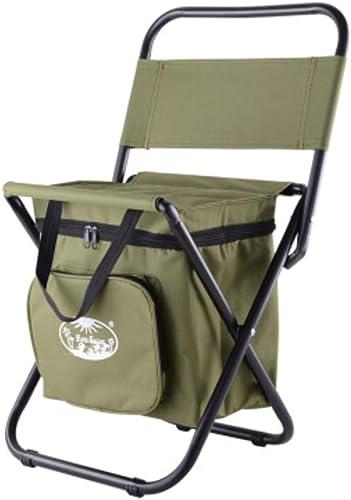 Chaise glacière avec Dossier, Ultra léger portable Pliant Tabouret de Camping,Sac a Dos Tabouret de pêche avec Glacière,RangeHommest Tabouret Pouf -Vert