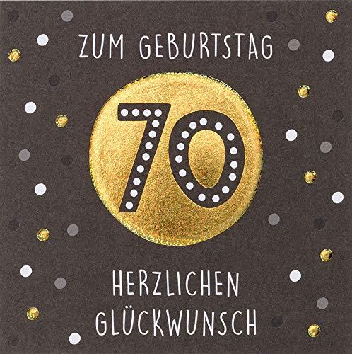 Geburtstagskarte zum 70. Geburtstag Black&Gold - Punkte - 15 x 15 cm