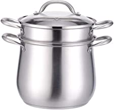 XMDD 304 Stainless Steel Soup Pot High Pot With Lid Steamer, Two-layer Steaming Pot 24cm 26cm + Single Steam Grid (Color :...