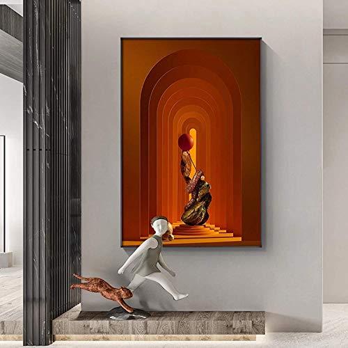 LangGe Impresión de Lienzo 70x90cm sin Marco Estatua nórdica Carteles artísticos e impresión Moderna Imagen de decoración de Color...