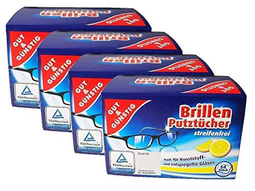 Brillenputztücher 4 Pack 216 Tücher streifenfrei Brillentücher Gut & Günstig