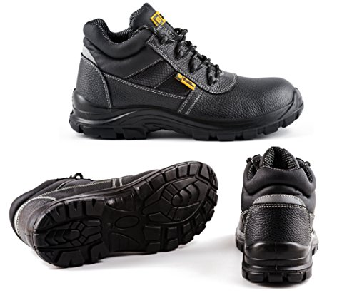 Black Hammer Mens Safety Boots Work Waterproof Shoes Leather Steel Toe Cap Working Ankle Lightweight Footwear S3 SRC 1007, 6 UK, Black Waterproof