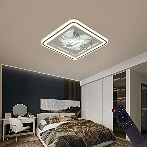 VOMI Ventilador de Techo con Luz LED, Temperatura de 3 Colores Ajustable, Moderno Regulable Plafón Lámpara con Mando a Distancia Tranquila Ventiladores Luz Diseño Cuadrado para Dormitorio Oficina