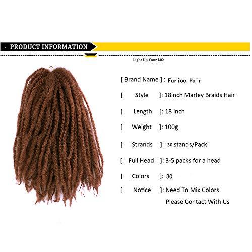Lot de 30 tresses afro torsadées crépues au crochet ombré Marley 45,7 cm