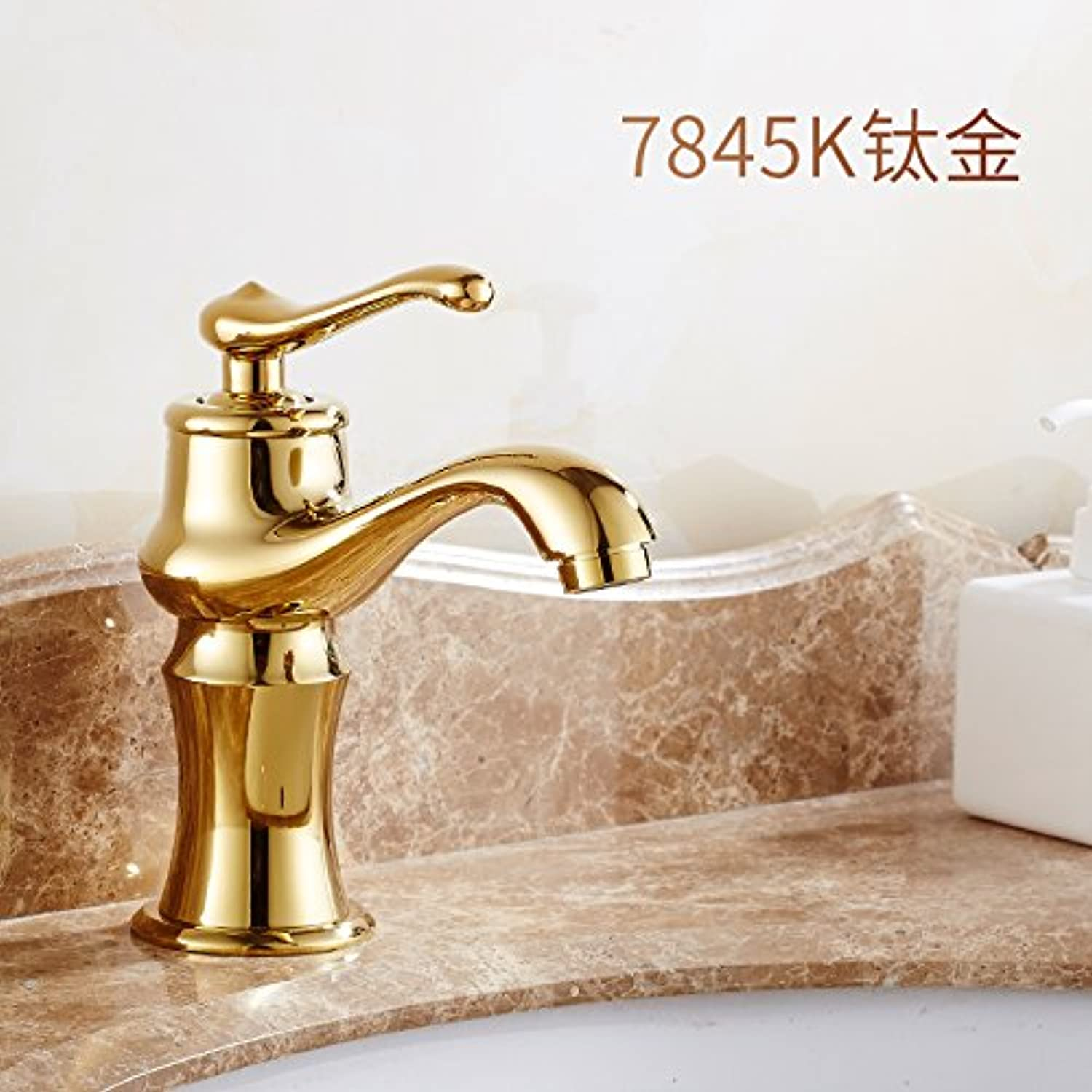 Lpophy Bathroom Sink Mixer Taps Faucet Bath Waterfall Cold and Hot Water Tap for Washroom Bathroom and Kitchen Hot and Cold Copper Antique gold Single Hole Titanium B