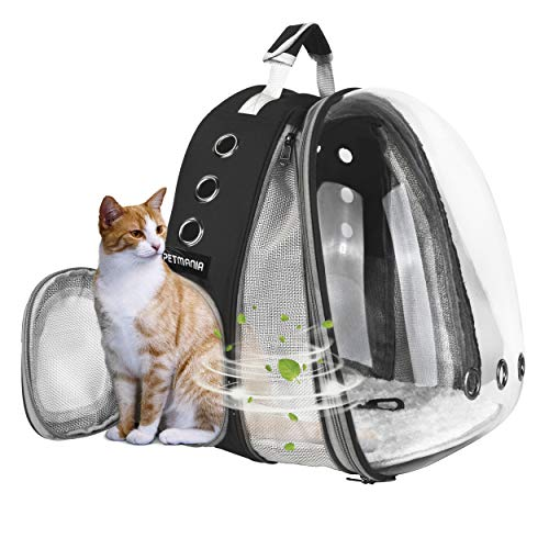 PETMANIA Pet Carrier Backpack [Black Expandable Front] - Transparent Bubble Carrier, for Small Dogs/Puppies, Cats/Kittens, Hiking, Traveling, Airline Approved