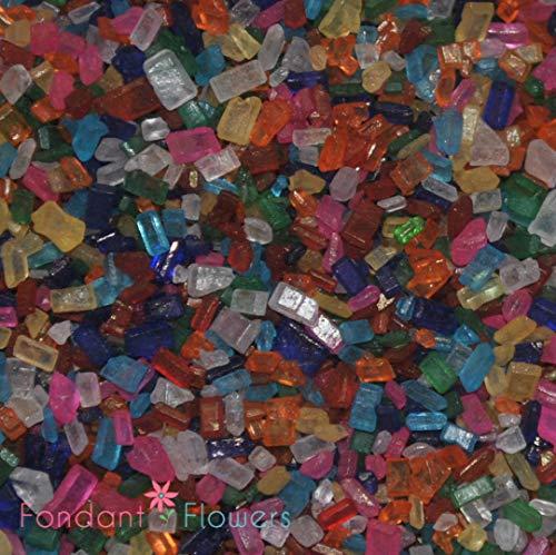 Rainbow Sugar Crystals ( 8 ounces ) - Coarse Sprinkles for cupcakes, Pretzels, cakepops Decorating by Sugar Deco