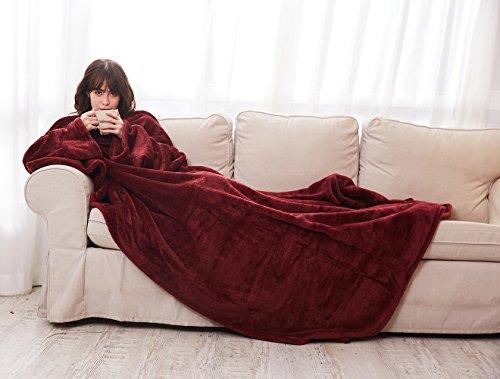 Alcea Rosea Wearable Blanket Shu Velveteen Soft Plush TV Blanket with Sleeves and Back feet Pocket,Cozy,Throw Robe for Women-79'' x 60'' (Wine)