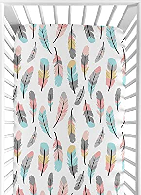 Multicolored Feather Print Fitted Crib Sheet for Feather Collection Baby/Toddler Bedding Set