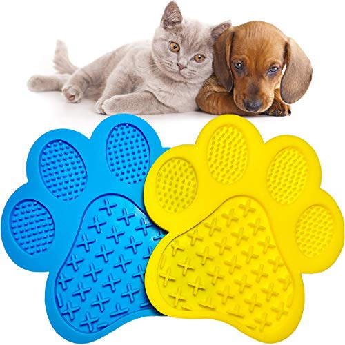 Lick Mat for Dogs & Cats 2 Pack | Slow Treater Mat with Suction Cups for Pet Shower | Healthy Feeder | Calming Peanut Butter Dispenser | Licking Pad for Anxiety Relief | Bath Distraction & Grooming