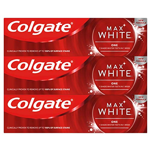 Colgate Max White One Toothpaste 75 ml, Instant Teeth Whitening and Brightening Stain Removing Toothpaste, Pack of 3