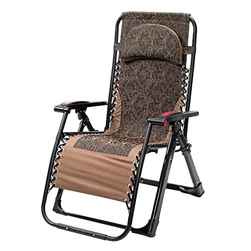 ZHAORU Sillón Zero Gravity, sillón reclinable Plegable para césped con Almohada extraíble para Porche de Patio al Aire Libre