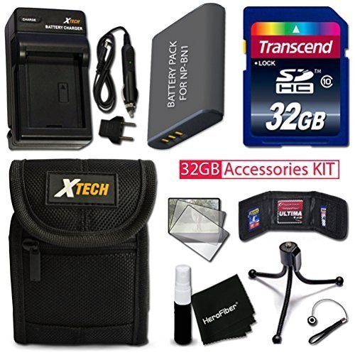 PRO 32GB Accessories KIT for Sony Cyber-Shot DSC-W800, DSC-W830, DSC-W810, DSC-W730, DSC-W710, DSC-WX220 Includes: 32GB High-Speed Memory Card + NP-BN1 Battery + AC/DC Charger + Fitted Case + More