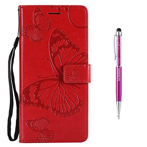 Grandoin Sony Xperia L2 Hülle, Handyhülle im Brieftasche-Stil für Sony Xperia L2 Handytasche PU Leder Flip Cover Schmetterling Muster Design Premium Book Case Schutzhülle Etui Case (rot)
